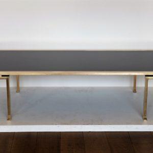 Table Basse Laiton Et Verre Opalin Noir, 1960, maison jansen