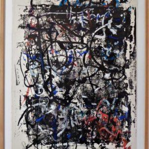 Gouache expressionniste Abstraite Signée Hans Kaiser Et Datée 1963